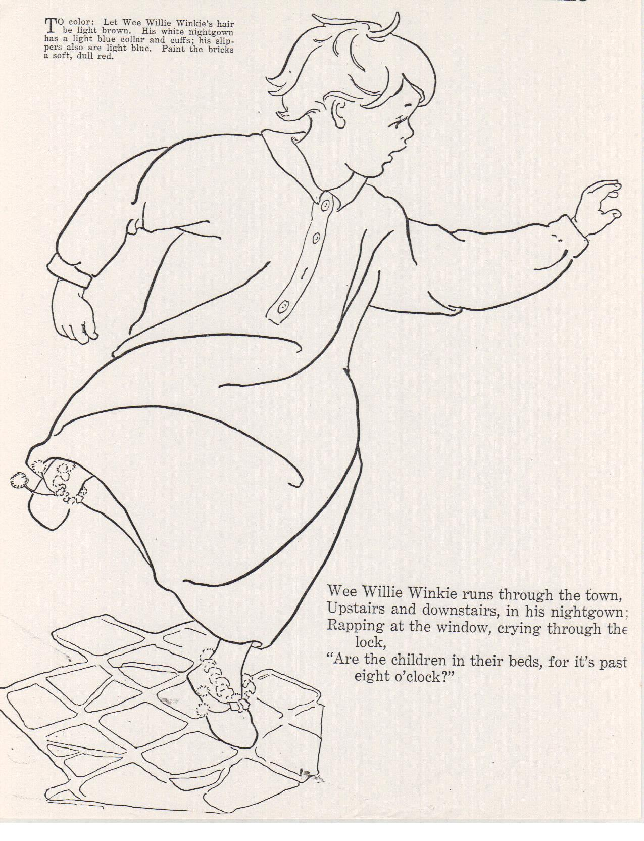 Wee Willie Winkie Coloring Page Click Here to Start Typing